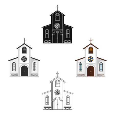 Church in which the bride and groom conduct a rite before the wedding.Wedding single icon in cartoon,black style vector symbol stock web illustration. Иллюстрация