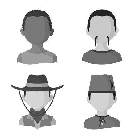 Isolated object of person and culture symbol. Set of person and race  vector icon for stock. Ilustrace