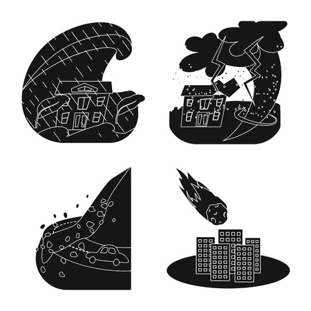 Isolated object of calamity and crash sign. Set of calamity and disaster vector icon for stock.