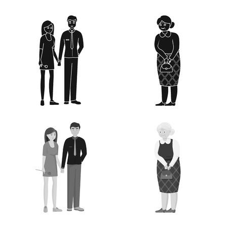 Illustrazione vettoriale dell'icona di carattere e avatar. Collezione di icone vettoriali di carattere e ritratto per stock.