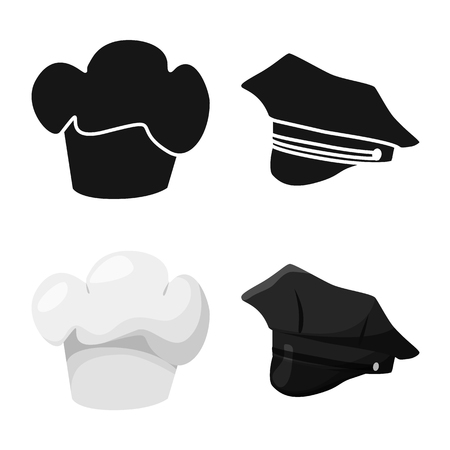Vector design of clothing and cap sign. Set of clothing and beret stock vector illustration.