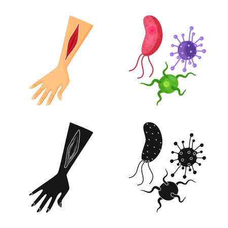 Vector design of medical and pain. Set of medical and disease stock vector illustration.