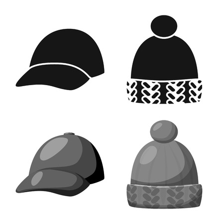 Isolated object of clothing and cap. Collection of clothing and beret vector icon for stock.