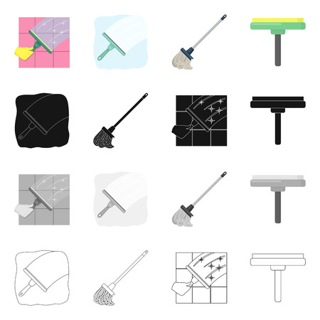 Vector design of mop and broom icon. Collection of mop and cleaner vector icon for stock.