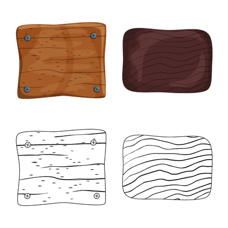 Vector illustration of raw  and forest. Set of raw  and hardwood vector icon for stock.
