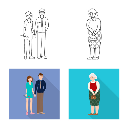 Isolated object of character and avatar. Collection of character and portrait stock vector illustration.