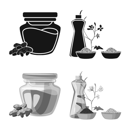 Isolated object of healthy and vegetable symbol. Set of healthy and agriculture stock vector illustration.