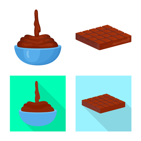 Vector design of food and yummy. Set of food and brown   vector icon for stock.