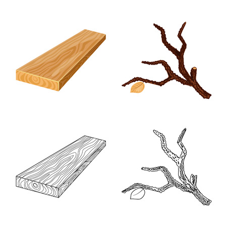 Vector design of tree   and raw  icon. Collection of tree   and construction stock vector illustration. Illustration