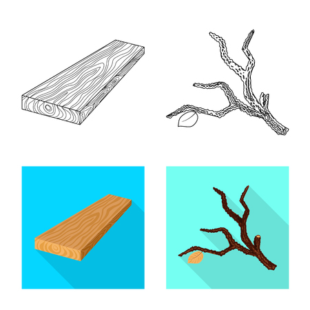 Vector design of tree   and raw  sign. Collection of tree   and construction stock symbol for web.