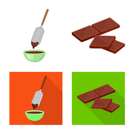 Vector design of food and yummy icon. Collection of food and brown   vector icon for stock. Illustration