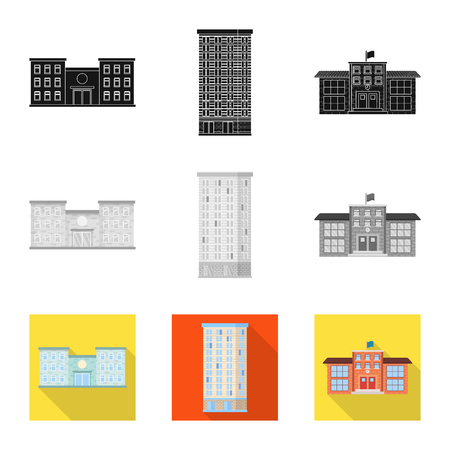 Vector illustration of municipal and center icon. Collection of municipal and estate   vector icon for stock. Stock Illustratie