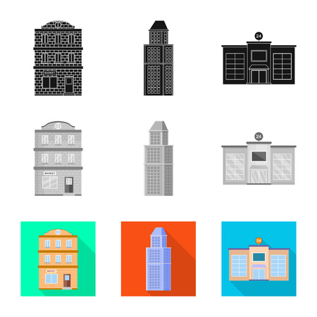 Isolated object of municipal and center icon. Set of municipal and estate   stock vector illustration. Illusztráció
