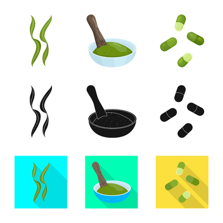 Vector illustration of protein and sea icon. Set of protein and natural stock vector illustration.