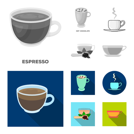 Vector illustration of cup and coffe symbol. Set of cup and top  vector icon for stock.