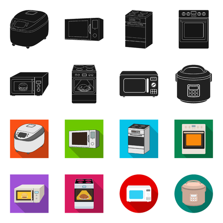 Vector illustration of food. Set of food and cooker vector icon for stock.