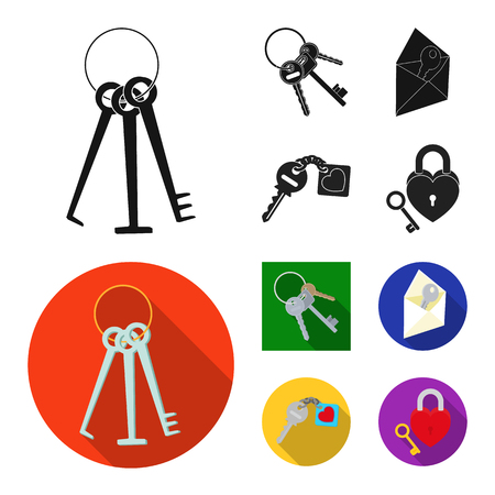 Isolated object of key  and protection sign. Collection of key  and security stock symbol for web.