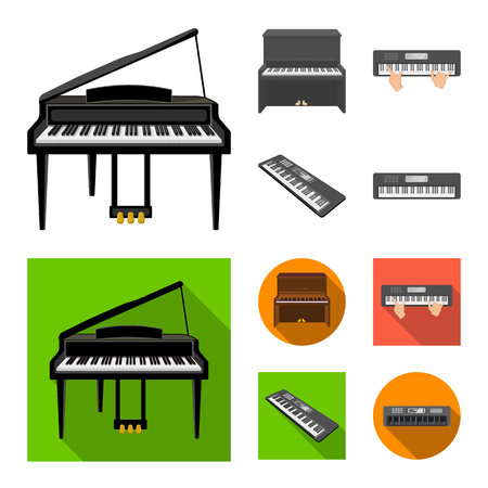 Isolated object of music and piano sign. Collection of music and song vector icon for stock.