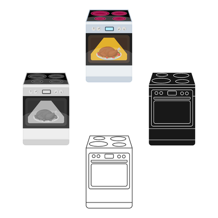 Kitchen stove icon in cartoon,black style isolated on white background. Kitchen symbol vector illustration.