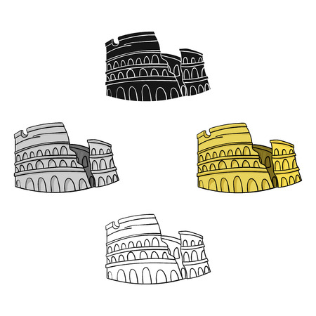 Colosseum in Italy icon in cartoon,black style isolated on white background. Italy country symbol stock vector illustration.