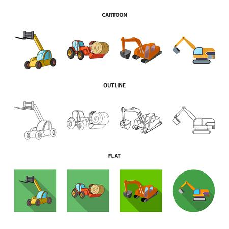 Illustration vectorielle de signe avant et pelle. Collection de symbole boursier avant et seau pour le web. Vecteurs