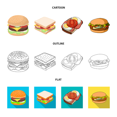 Vector illustration of sandwich and wrap. Collection of sandwich and lunch stock vector illustration.