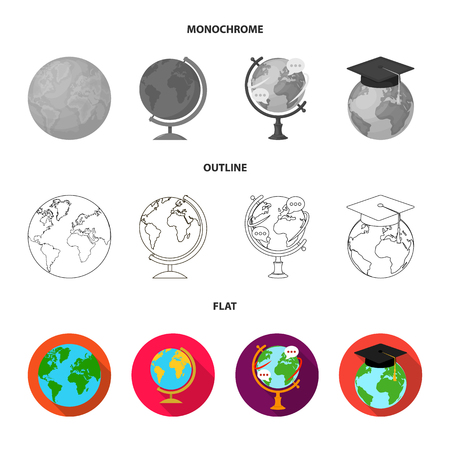 Isolated object of globe and world symbol. Collection of globe and earth vector icon for stock.