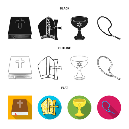 Vector illustration of muslim and items. Set of muslim and candle stock vector illustration.