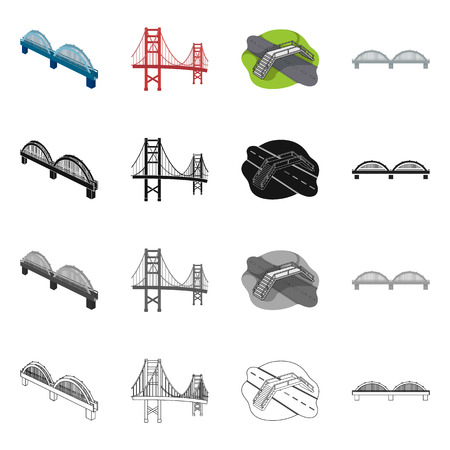 Vector design of bridge and construction icon. Collection of bridge and arch stock symbol for web. Illustration