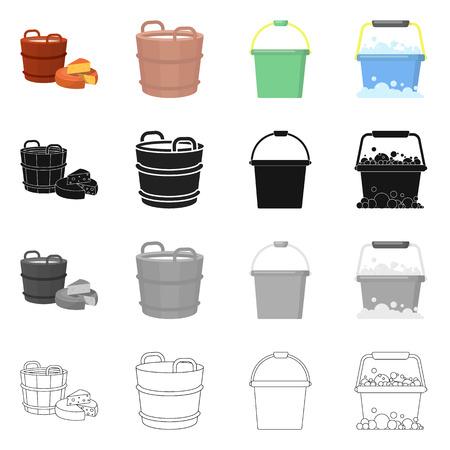 Vector illustration of bucket and water symbol. Collection of bucket and full vector icon for stock. Illustration