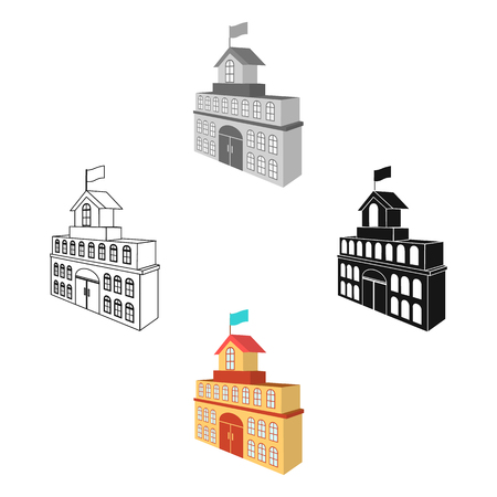 The building of the town hall. City Hall Building single icon in cartoon,black style vector symbol stock illustration web. Иллюстрация