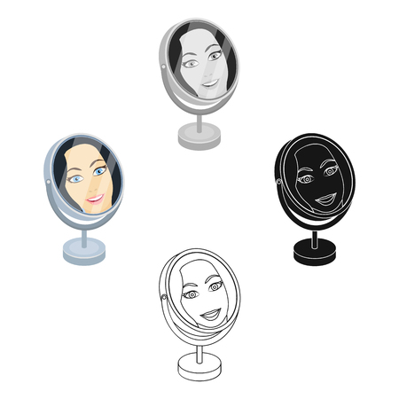 Reflection in the table mirror. Mirror for make-up single icon in cartoon,black style vector symbol stock illustration web.