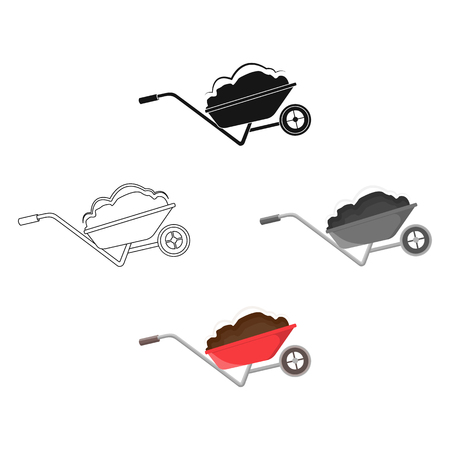 Wheelbarrow, single icon in cartoon,black style.Wheelbarrow vector symbol stock illustration web.
