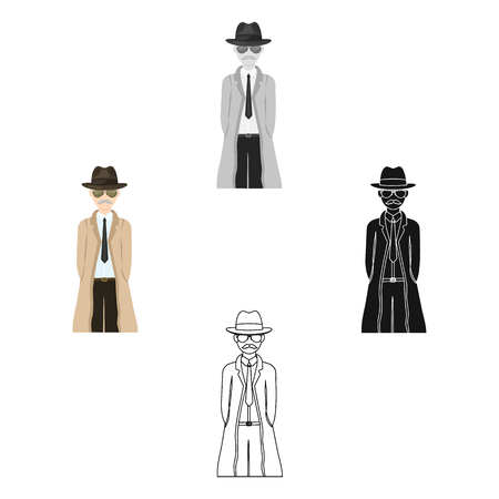 Appearance of the detective. Man detective in a hat and raincoat single icon in cartoon,black style vector symbol stock illustration web. Illustration