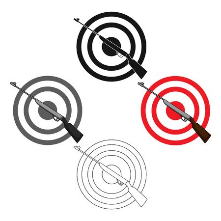 Weapon and target. Shooting gallery in an amusement park.Amusement park single icon in cartoon,black style vector symbol stock illustration. Illustration