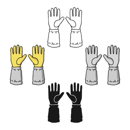 Beekeeper s gloves icon in cartoon,black style isolated on white background. Apairy symbol stock vector illustration
