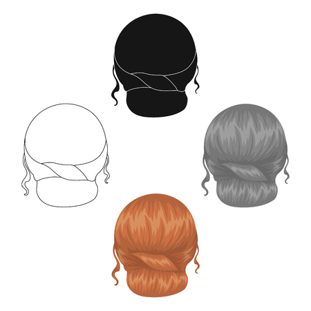 Red combed behind.Back hairstyle single icon in cartoon,black style vector symbol stock illustration web.