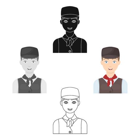 Belgian guy in a cap and waistcoat.The dark Belgian wolf. Belgium single icon in cartoon,black style vector symbol stock illustration.