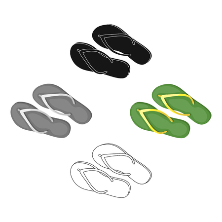 Green flip-flops icon in cartoon,black style isolated on white background. Brazil country symbol stock vector illustration.