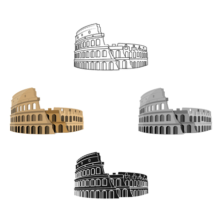 Colosseum in Italy icon in cartoon,black style isolated on white background. Countries symbol stock vector illustration. Çizim