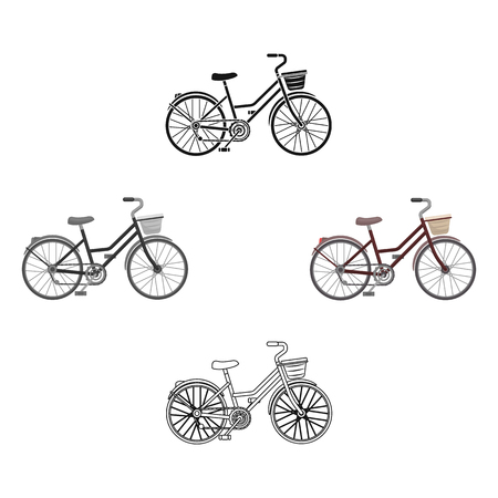 A red bicycle with wheels and basket. The eco-friendly transport.Different Bicycle single icon in cartoon,black style vector symbol stock illustration.