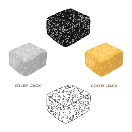 Colby gack.Different kinds of cheese single icon in cartoon,black style vector symbol stock illustration web. 写真素材 - 124246935