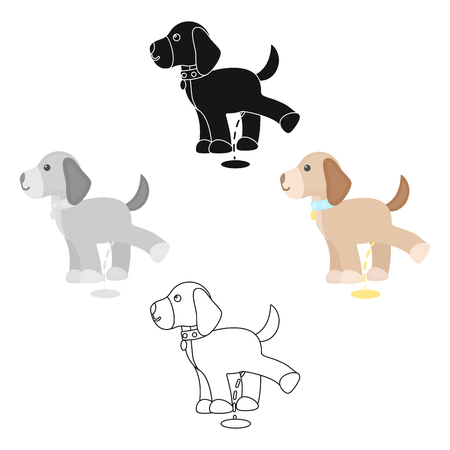 Pissing dog vector icon in cartoon,black style for web Illustration