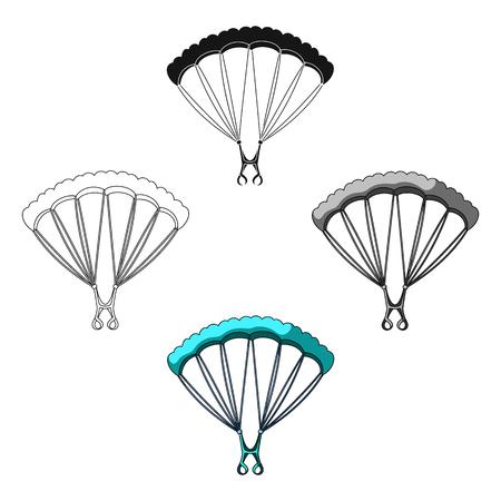 Fallschirmspringen Einzelne Ikone des Extremsports in der Karikatur, schwarzes Artvektorsymbolvorrat-Illustrationsnetz.