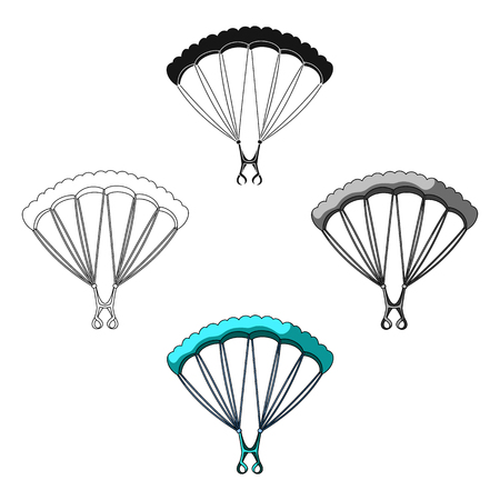 Parachuting.Extreme sport single icon in cartoon,black style vector symbol stock illustration web. Ilustração