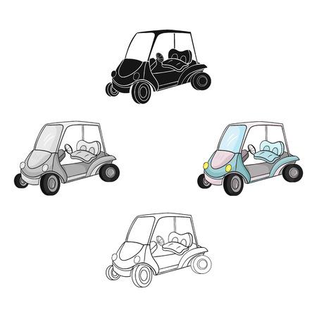 Golf cart icon in cartoon,black style isolated on white background. Golf club symbol stock vector illustration. Ilustração