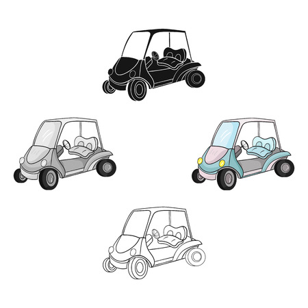 Golf cart icon in cartoon,black style isolated on white background. Golf club symbol stock vector illustration. Illustration