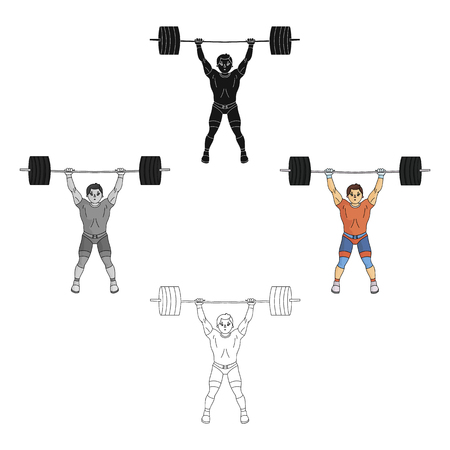 Strong weightlifter raises the bar in the gym.The athlete lifts a huge weight. sports single icon in cartoon,black style vector symbol stock illustration.