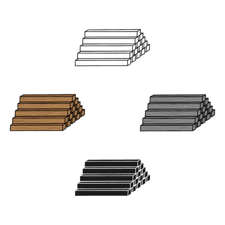 Stack of lumbers icon in cartoon,black style isolated on white background. Sawmill and timber symbol stock vector illustration.