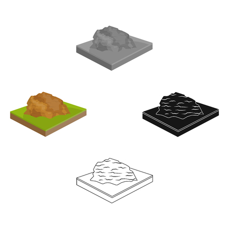 Mountains, rocks and landscape. Relief and mountains single icon in cartoon,black style isometric vector symbol stock illustration web. Illusztráció